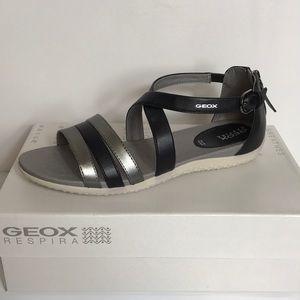 GEOX Vega Leather Cross-Strap Sandals
